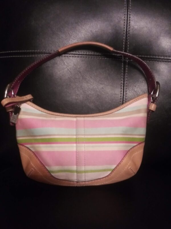 Pastel Coach Small Soho Twill Stripe Handbag | Curvy Girl Closet