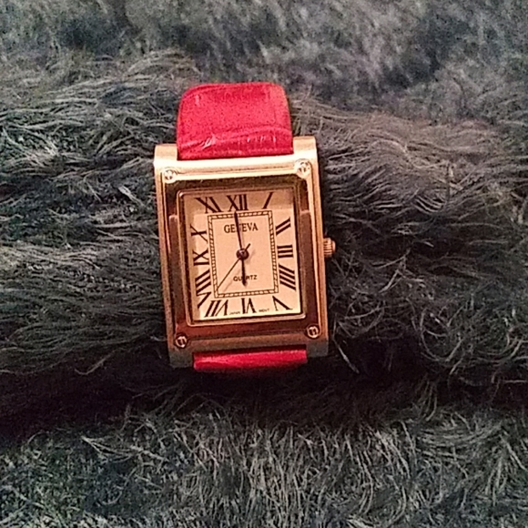 Red Leather Geneva Ladies Watch | Curvy Girl Closet